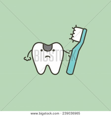 Use An Old Toothbrush To Brushing Teeth, Making It Unclean And Causing Tooth Decay - Dental Cartoon