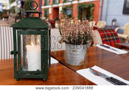 Table setting of a sidewalk restaurant in Copenhagen, Denmark