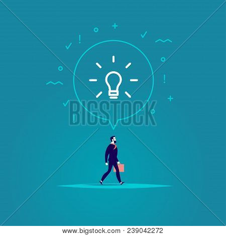 Vector Flat Illustration With Businessman Walking Forwards His Aim Inspired New Idea Isolated On Blu