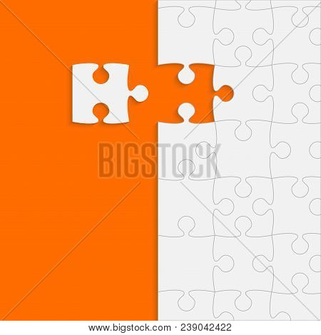 Orange Background Puzzle. Jigsaw Puzzle Banner. Vector Illustration Template Shape. Abstract Backgro