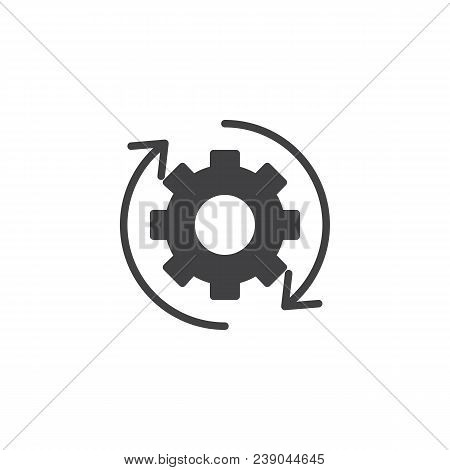 Rotation Arrows And Gear Vector Icon. Filled Flat Sign For Mobile Concept And Web Design. Update Set