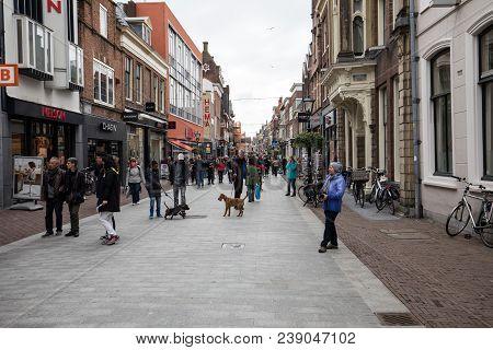 Alkmaar,  Netherlands - April 21, 2017: Popular Langestraat Shopping Street, Centre Of Alkmaar, Neth
