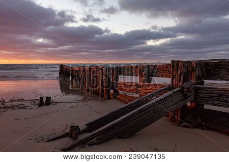 The erosion groyne located in victor harbor south australia on 16th march 2011 poster