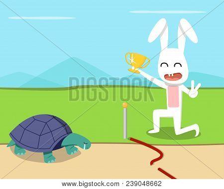 Rabbit Wins The Turtle In The Race, Vector Art Design