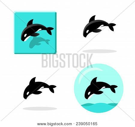 Set Of Killer Whale Icons In Flat Style ,vector Art Design