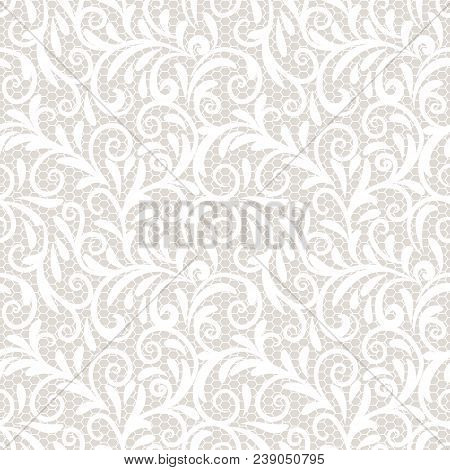 Vintage Lace Ornament, Elegant Tulle Texture, Vector Seamless Pattern. Vector Pattern Of Ungainly Pa