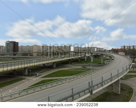 Aerial Highway Junction. Highway From Aerial View. Urban Highway And Lifestyle Concept. Construction