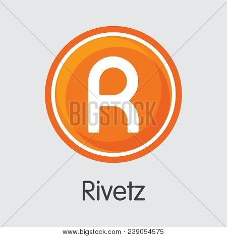 Rivetz Blockchain Coin Pictogram. Blockchain, Block Distribution Rvt Transaction Icon