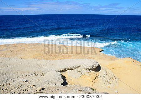 Panoramic View Of The Sea And Rocky Coastline, Redoubt, Marsalforn, Gozo, Malta, Europe.
