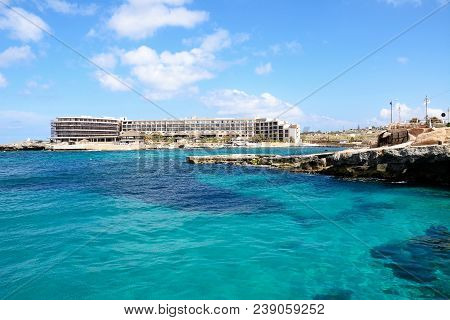 Ramla Bay, Malta - April 2, 2017 - View Of Ramla Bay Resort Hotel And Beach, Ramla Bay, Malta, Europ