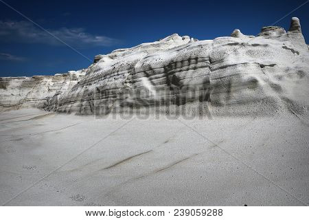 Detail Of Rock Formations In Milos Island At Sarakiniko Beach