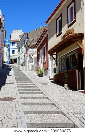 Monchique, Portugal - June 7, 2017 - Steep Shopping Street In The Old Town, Monchique, Algarve, Port