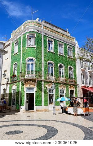 Lagos, Portugal - June 9, 2017 - Traditional Portuguese Building In The Praca Luis De Camoes, Lagos,