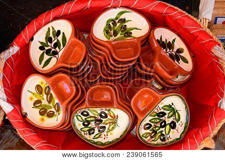 Silves, Portugal - June 10, 2017 - Colourful China Olive Dishes For Sale, Silves, Portugal, Europe,