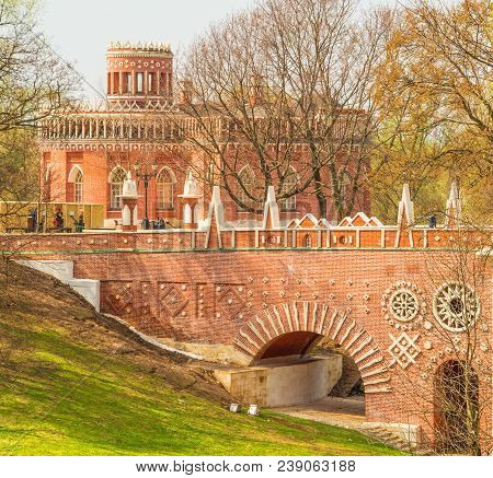 Arched Bridge Built In The Style Of Russian Gothic In The Park Tsaritsyno In Moscow. Russia Moscow.