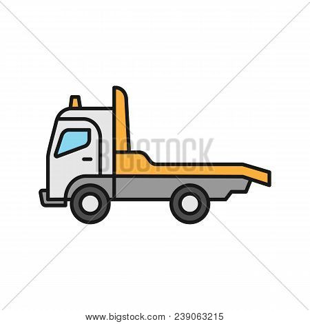 Tow Truck Color Icon. Car Wrecker. Evacuator. Isolated Vector Illustration