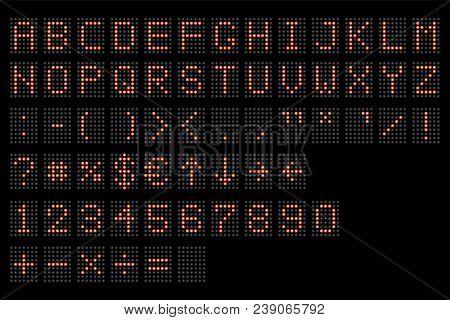 Led Digital Alphabet. Electronic Number And Alphabet Digital Display, Letters And Symbols. Digital T