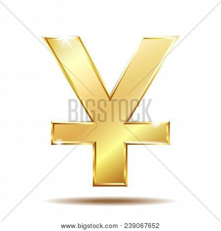 Shiny Golden Yuan Currency Symbol Isolated On White. Vector Illustration