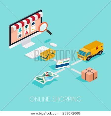 Online Shopping. Isometric E-commerce, Electronic Business, Payment, Delivery, Shipping Process Info