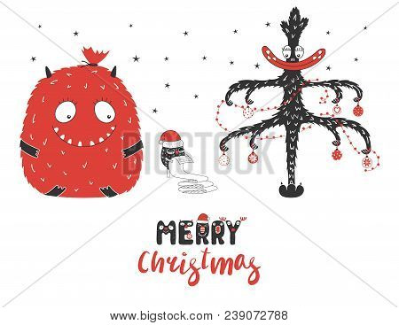 Hand Drawn Christmas Greeting Card With Cute Monsters, Reading A Long List, Bag With Presents, Tree.