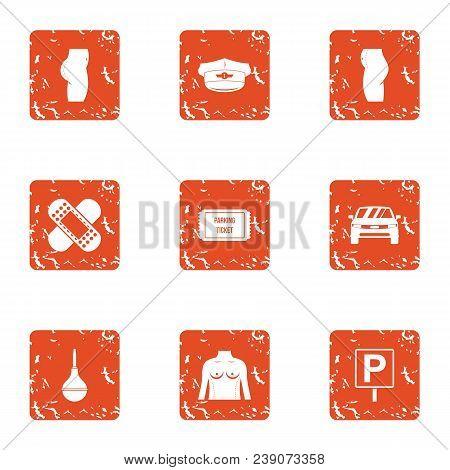 Emergency Care Icons Set. Grunge Set Of 9 Emergency Care Vector Icons For Web Isolated On White Back