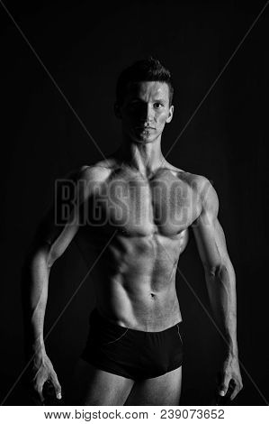 Sportsman With Six Pack And Ab Muscles. Man Bodybuilder With Fit Body. Macho With Sexy Torso And Che