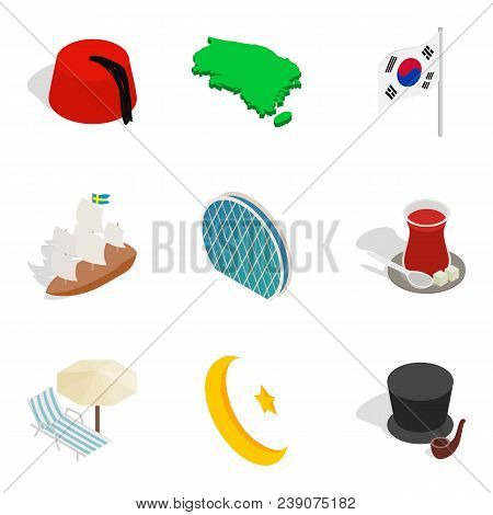 National Excellence Icons Set. Isometric Set Of 9 National Excellence Vector Icons For Web Isolated