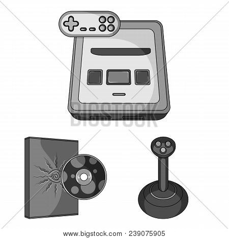 Game Console And Virtual Reality Monochrome Icons In Set Collection For Design.game Gadgets Vector S