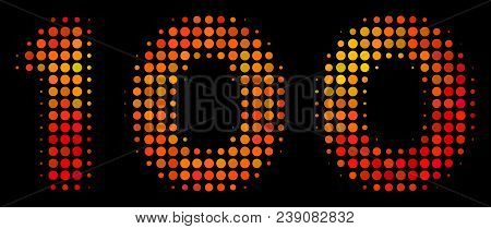 Dot 100 Text Icon. Bright Pictogram In Fire Color Variations On A Black Background. Vector Halftone
