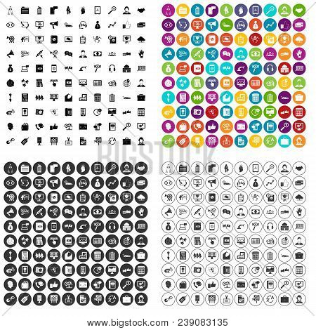 100 Business Activity Icons Set Vector In 4 Variant For Any Web Design Isolated On White