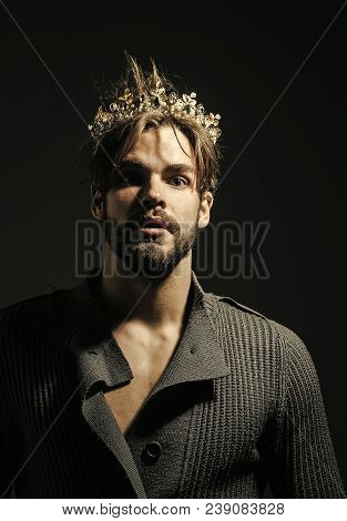 Man or cinderella prince in crown on grey background. Freak, gay and transvestite. Drag queen, homosexual and trans. Fashion, jewelry, accessory. Glory, nobility, triumph concept poster