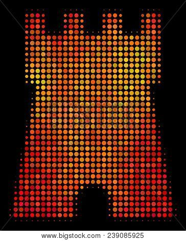 Dot Bulwark Tower Icon. Bright Pictogram In Fire Color Tones On A Black Background. Vector Halftone