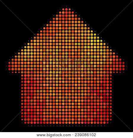 Dot Cabin Icon. Bright Pictogram In Fire Color Tinges On A Black Background. Vector Halftone Composi