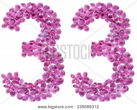 Arabic Numeral 33, Thirty Three, From Flowers Of Lilac, Isolated On White Background