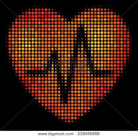 Dot Cardiology Icon. Bright Pictogram In Fire Color Tones On A Black Background. Vector Halftone Pat