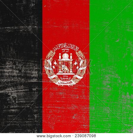 3d Rendering Of Afghanistan Flag In A Scratched Surface