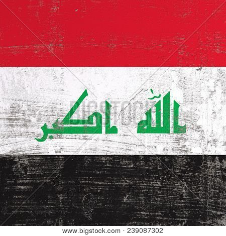 3d Rendering Of Iraq Flag In A Scratched Surface