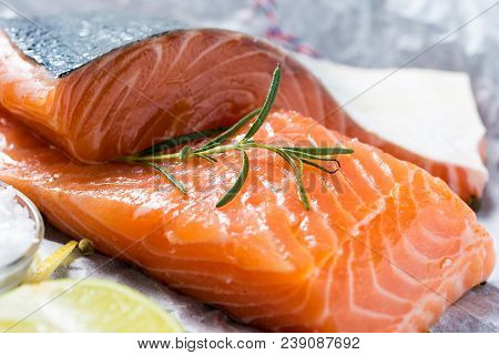 Raw Salmon Fillet With Aromatic Herbs And Spices