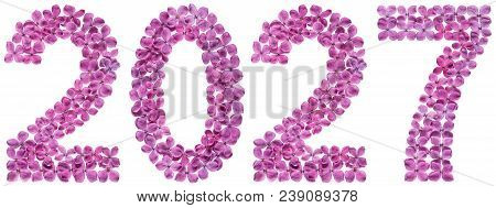 Numeral 2027 From Flowers Of Lilac, Isolated On White Background