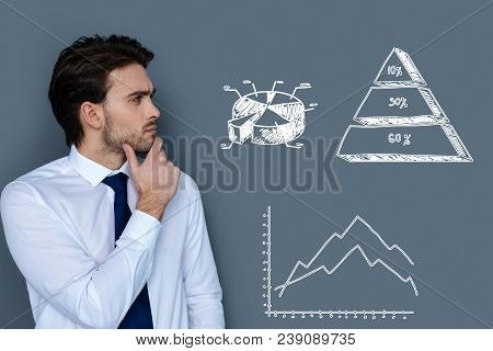 Serious Accountant. Clever Professional Young Accountant Thoughtfully Touching His Chin And Looking