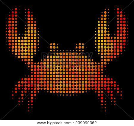 Pixelated Crab Icon. Bright Pictogram In Hot Color Shades On A Black Background. Vector Halftone Col