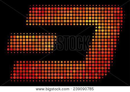 Dotted Dash Currency Icon. Bright Pictogram In Fire Color Shades On A Black Background. Vector Halft