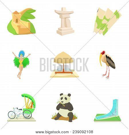 Global Entertainment Icons Set. Cartoon Set Of 9 Global Entertainment Vector Icons For Web Isolated