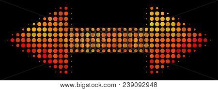 Pixelated Exchange Arrows Icon. Bright Pictogram In Fire Color Hues On A Black Background. Vector Ha