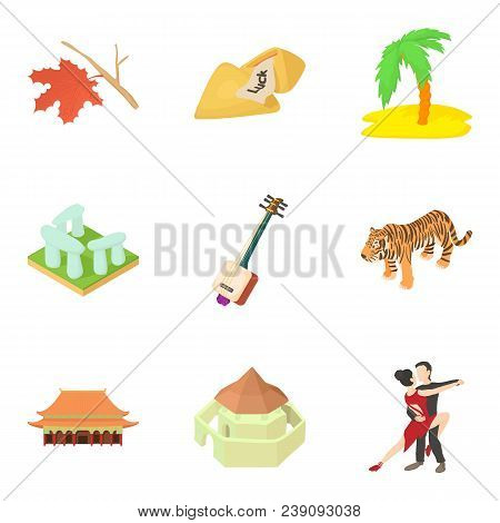 Beach Story Icons Set. Cartoon Set Of 9 Beach Story Vector Icons For Web Isolated On White Backgroun