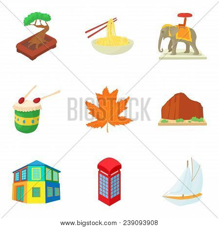 Continental Travel Icons Set. Cartoon Set Of 9 Continental Travel Vector Icons For Web Isolated On W