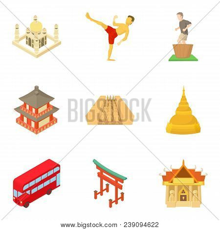 Continental Part Icons Set. Cartoon Set Of 9 Continental Part Vector Icons For Web Isolated On White