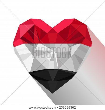 Vector Crystal Gem Yemeni Heart With The Flag Of The Republic Of Yemen. Flat Style Logo Symbol Of Lo