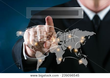 Business Man Touching A World Map With Connexions With Blue Background