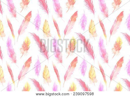 Watercolor Colorful Pink Orange Feather Pattern Background Texture